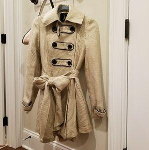 Jack by BB Dakota Cream Coat, Black Trim & Buttons